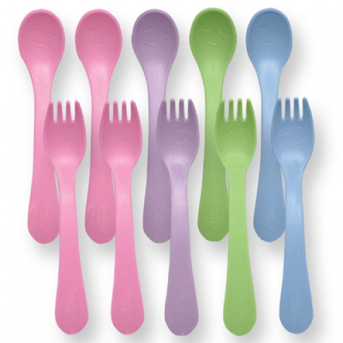 Green Sprouts Toddler Fork and Spoon Set - Girls (1, 10 count)