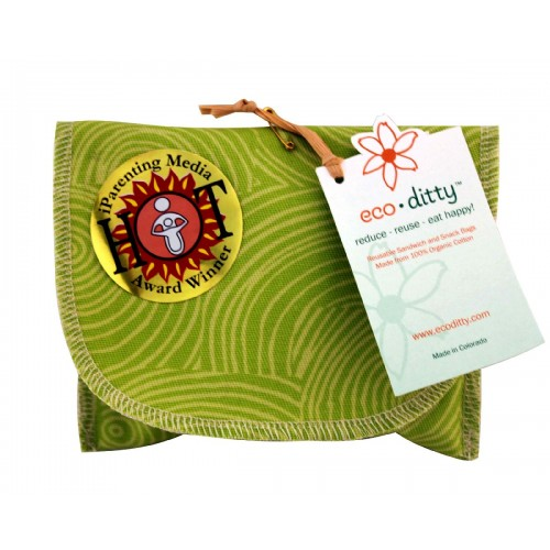 ecoditty Snack Ditty organic snack bag, Let it Grow Green