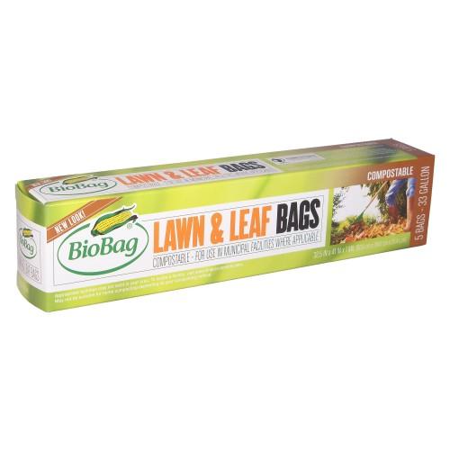 BioBag 33 Gallon Lawn and Leaf Bags - Case (5 bags per box, 12 boxes per case)